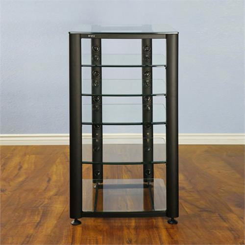 View a large image of the VTI 6 Shelf Audio Video Rack Black with Clear Glass HGR406BW here.