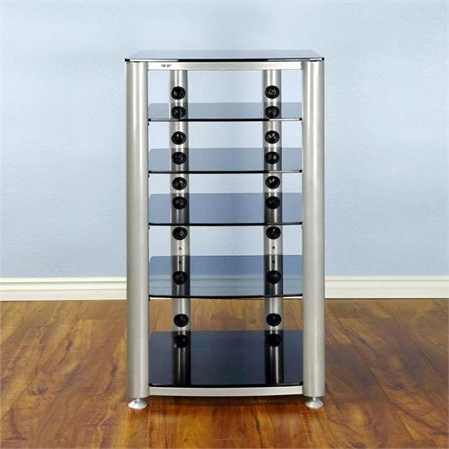View a large image of the VTI 6 Shelf Audio Video Rack Silver Frame with Black Glass HGR406SB here.