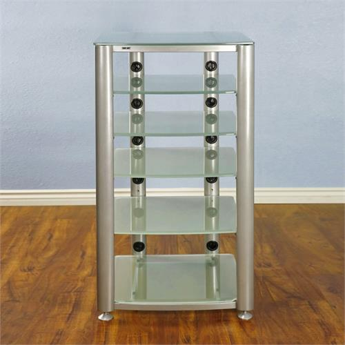 View a large image of the VTI 6 Shelf Audio Video Rack Silver with Frosted Glass HGR406SF here.