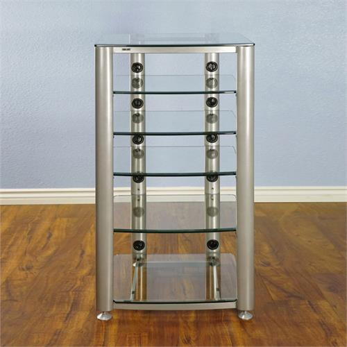 View a large image of the VTI 6 Shelf Audio Video Rack Silver with Clear Glass HGR406SW here.