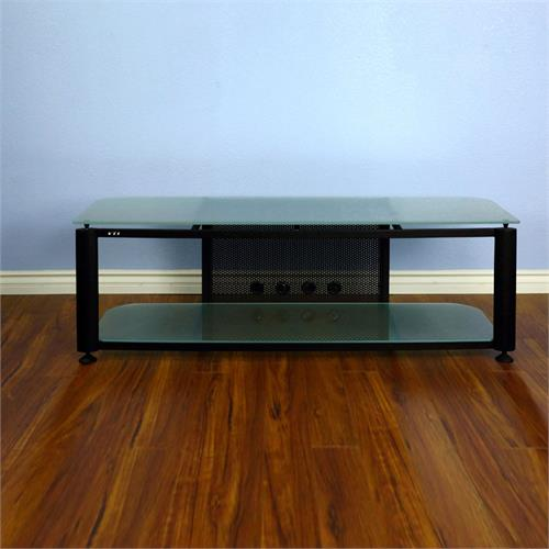 View a large image of the VTI HGR Series 60 inch Wide AV TV Stand Black with Frosted Glass HGR60BF here.
