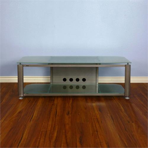 View a larger image of the VTI HGR Series 60 inch Wide AV TV Stand (Silver with Frosted Glass) HGR60SF.