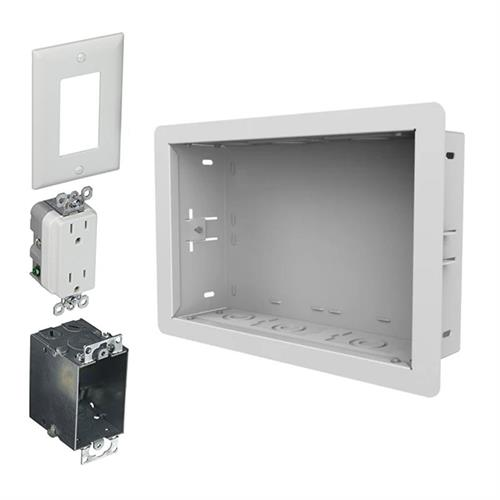 View a larger image of the Peerless-AV In-wall Storage Box (14x9, Duplex Surge, WHT) IB14X9-AC-W.