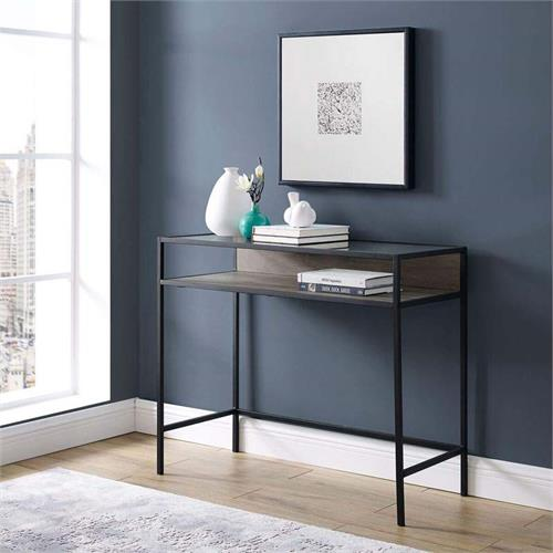 View a large image of the Walker Edison Urban Industrial Desk Grey with Clear Glass DM35JERGW here.