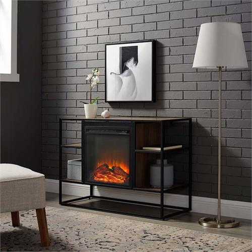 View a large image of the Walker Edison Urban Industrial Fireplace TV Stand Mocha W40FPJERMO here.