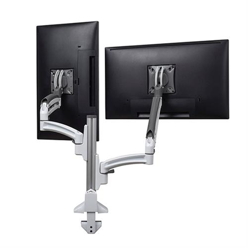 View a large image of the Chief K1C220WXRH White Kontour Reduced Height Dual Screen Dynamic Column Desk Mount here.