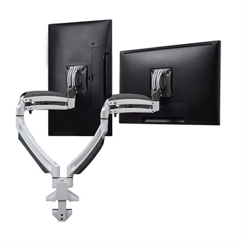View a large image of the Chief K1D220W White Kontour Dual Screen Dynamic Desk Mount here.