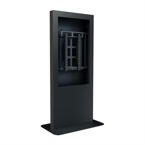 View a large image of the Peerless KP555-AB Antimicrobial Black Portrait Hinged Kiosk for 55 inch Screens here.