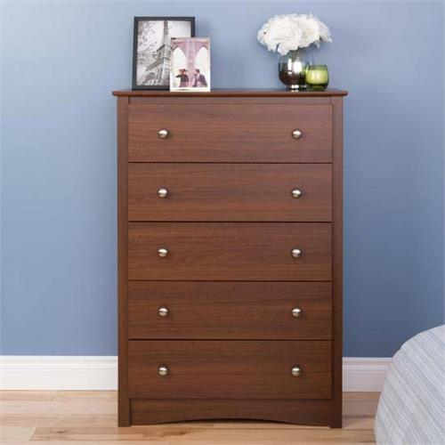 View a large image of the Prepac Sonoma Collection Tall 5 Drawer Dresser Cherry LDC-3345-V here.