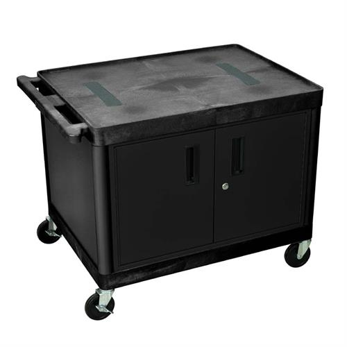 View a large image of the Luxor 27 inch Endura Audio Video Cart with Cabinet Black LE27C2-B here.