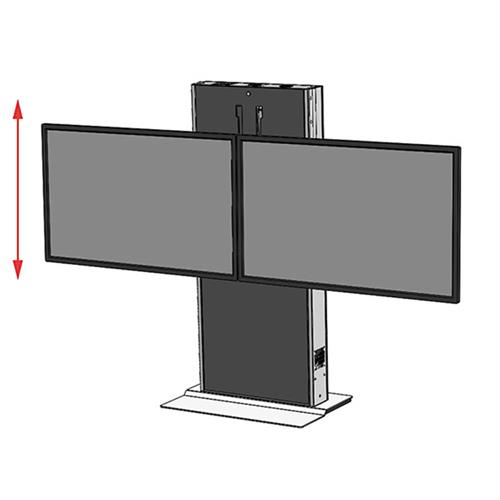 View a large image of the Audio Visual Furniture LFT7000FS-D Fixed Base Dual Display Electric Lift Stand here.