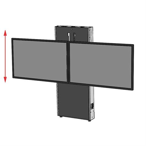 View a large image of the Audio Visual Furniture LFT7000WM-D Dual Display Wall Mounted Electric Lift Stand here.