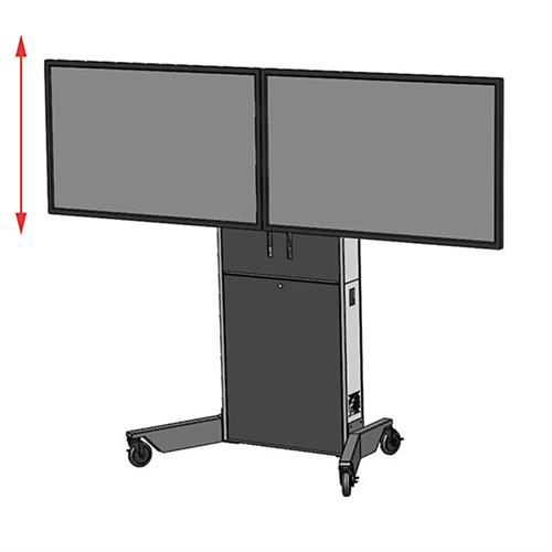View a large image of the Audio Visual Furniture LFT7000-D Dual Display Mobile Electric Lift Cart here.