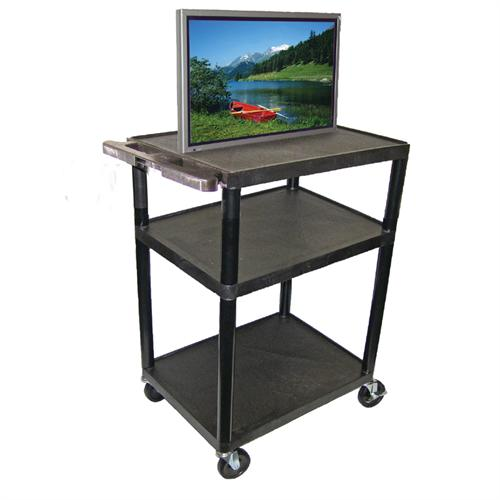View a large image of the Luxor LP Series 40 inch Wide Body Mobile Cart Black LP40-B here.