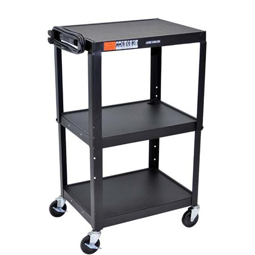 View a large image of the Luxor Adjustable Height Open Shelf AV Cart Black AVJ42 here.