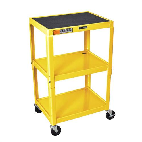 View a large image of the Luxor Adjustable Height Open Shelf AV Cart Yellow AVJ42-YW here.
