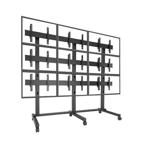View a large image of the Chief FUSION 3x3 Micro Adjustable Large Video Wall Cart LVM3X3U here.