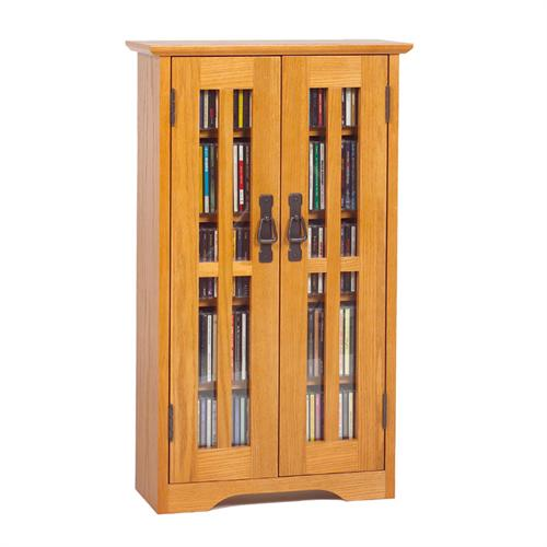 View a larger image of the Leslie Dame Wall Hanging Mission Style Multimedia Cabinet (Oak) M-190.