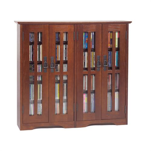 View a larger image of the Leslie Dame Extra-Wide Wall Hanging Mission Style Glass Multimedia Cabinet (Walnut) M-380W.
