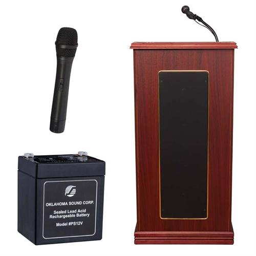 View a large image of the Oklahoma Sound Prestige Lectern with Wireless Mic & Battery (Mahogany) M711-MY/LWM-5 here.