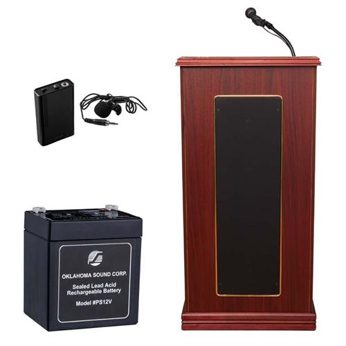 View a large image of the Oklahoma Sound Prestige Lectern with Clip-On Mic & Battery (Mahogany) M711-MY/LWM-6 here.