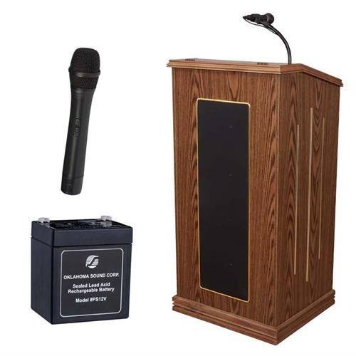 View a large image of the Oklahoma Sound Prestige Lectern with Wireless Mic & Battery (Oak) M711-MO/LWM-5 here.