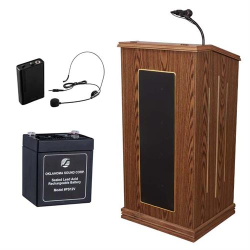View a large image of the Oklahoma Sound Prestige Lectern with Headset Mic & Battery (Oak) M711-MO/LWM-7 here.