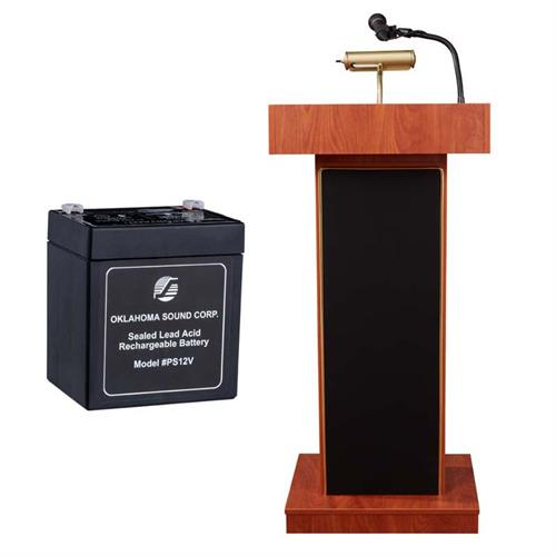 View a large image of the Oklahoma Sound Orator Lectern with Mic and Battery (Cherry) M800X-CH here.