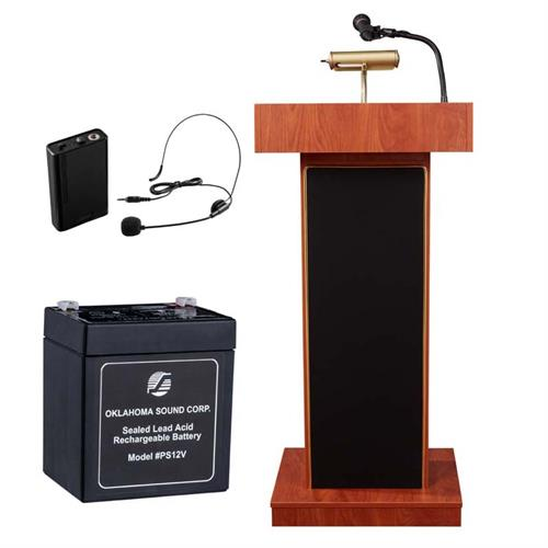 View a large image of the Oklahoma Sound Orator Lectern with Headset Mic & Battery (Cherry) M800X-CH/LWM-7 here.