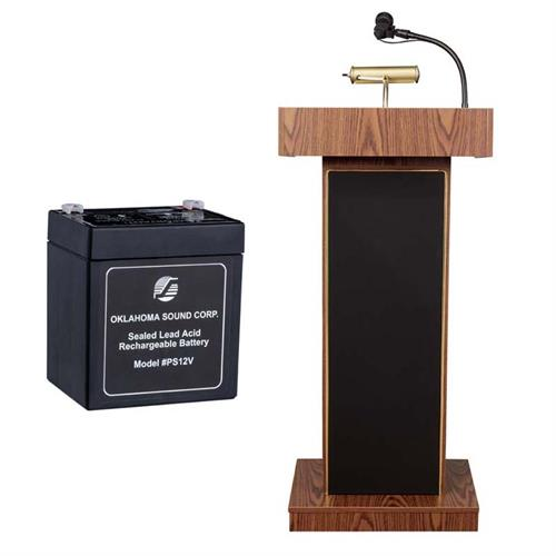 View a large image of the Oklahoma Sound Orator Lectern with Mic and Battery (Oak) M800X-MO here.