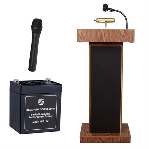 View a large image of the Oklahoma Sound Orator Lectern with Wireless Mic & Battery (Oak) M800X-MO/LWM-5 here.