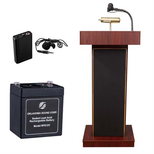 View a large image of the Oklahoma Sound Orator Lectern with Clip-On Mic & Battery (Mahogany) M800X-MY/LWM-6 here.
