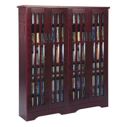 View a large image of the Leslie Dame Mission Style Multimedia Storage Cabinet Dark Cherry M-954DC here.
