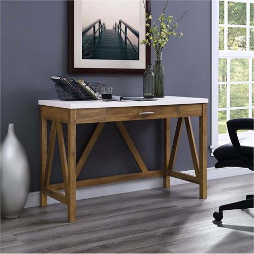 View a large image of the Walker Edison Rustic Modern Farmhouse Desk 2 Tone Finish DW46AFWMB here.