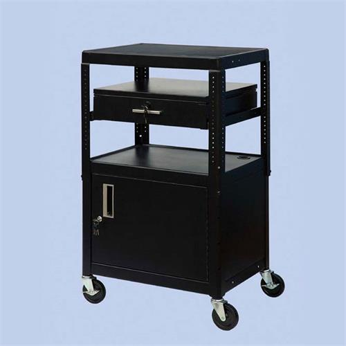 View a large image of the VTI Adjustable Height TV Cart with Locking Cabinet and Drawer MDCAB4226E here.