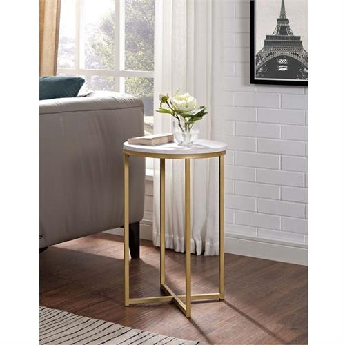 View a large image of the Walker Edison Faux Marble Side Table Gold AF16ALSTMGD here.
