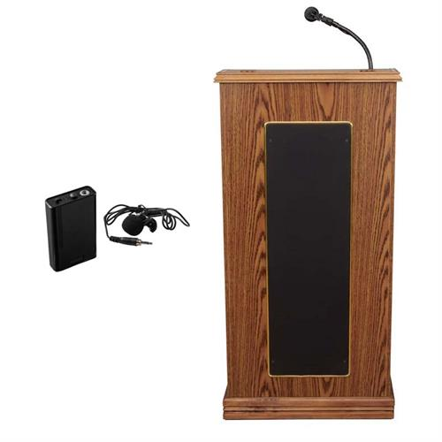View a large image of the Oklahoma Sound Prestige Lectern with Speakers & Tie Clip Mic (Oak) 711-MO/LWM-6 here.
