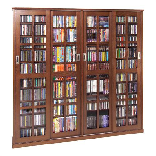 View a larger image of the Leslie Dame Glass 4-Door Multimedia Storage Cabinet (Walnut) MS-1400W.