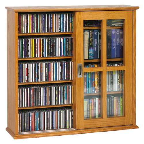 View a large image of the Leslie Dame Wall Hanging Mission Style Sliding Door Multimedia Cabinet Oak MS-350-OAK here.