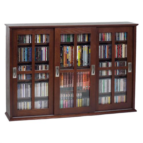 View a larger image of the Leslie Dame Wall Hanging Mission Style Sliding Door Media Cabinet (Walnut) MS-525W.