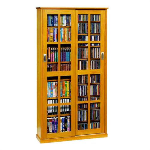 View a large image of the Leslie Dame Multimedia Storage Cabinet Oak MS-700-OAK here.