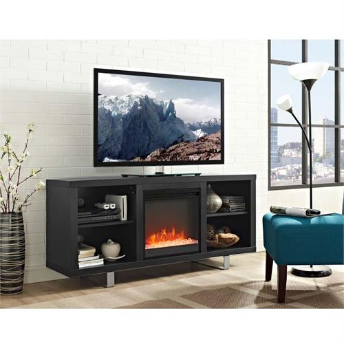 View a large image of the Walker Edison Simple Modern Fireplace TV Stand Black W58FP18SMSB here.