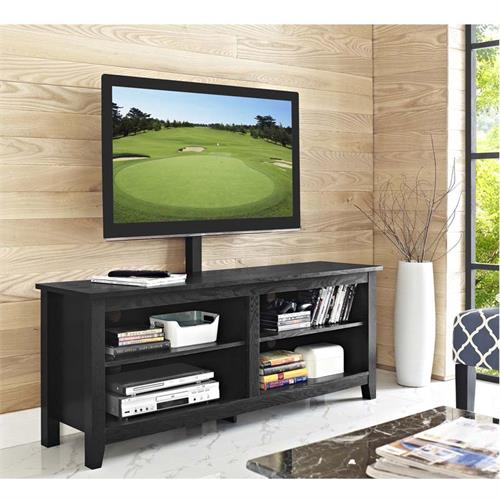 View a large image of the Walker Edison Essential 60 inch TV Stand with Mount Black W58CSPBL-MT here.