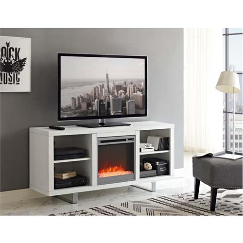 View a large image of the Walker Edison Simple Modern Fireplace TV Stand White W58FP18SMWH here.