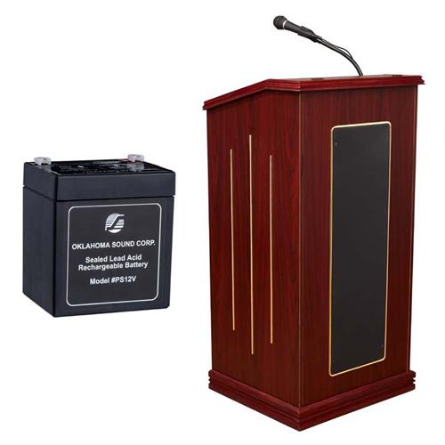 View a large image of the Oklahoma Sound Prestige Lectern with Sound, Mic & Battery (Mahogany) M711-MY here.