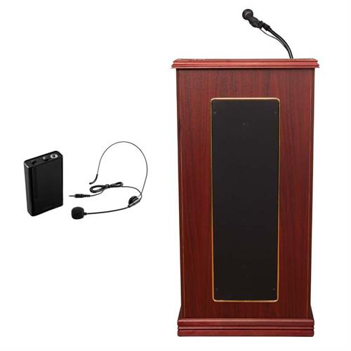 View a large image of the Oklahoma Sound Prestige Lectern with Speakers & Headset Mic (Mahogany) 711-MY/LWM-7 here.