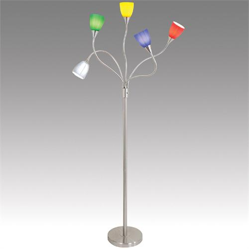 View a large image of the LumiSource Medusa Floor Lamp Brushed Metal Red Blue Green White Yellow Glass Sconces MEDUSA FLR 5ARM here.