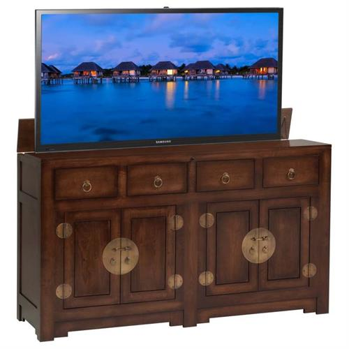 View a large image of the TV Lift Cabinet Ming Chest TV Lift for 36 to 60 in. TVs Antique Coffee AT006544AC here.