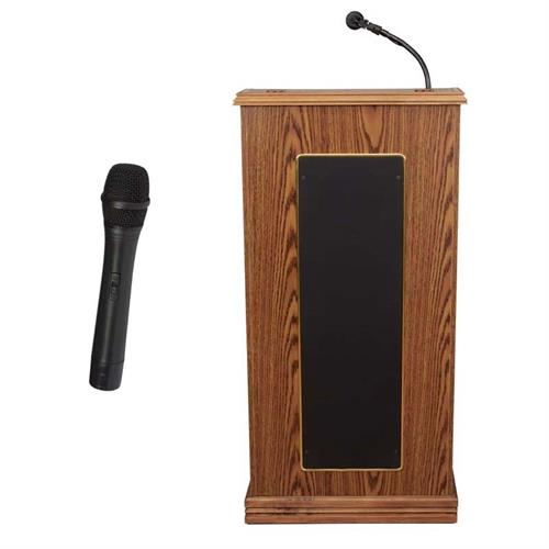 View a large image of the Oklahoma Sound Prestige Lectern with Speakers and Mic (Oak) 711-MO/LWM-5 here.