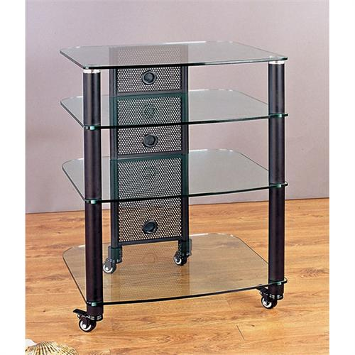 View a large image of the VTI 4-Shelf Mobile Audio Rack Black with Clear Glass NGR404BW here.
